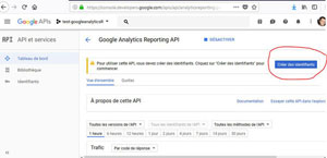 identifiants Google Analytics Reporting API