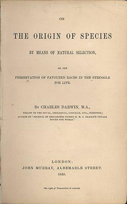 L'origine des Espèces de Charles Darwin
