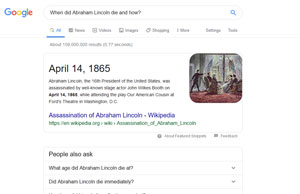 """Résultats pour """"When did Abraham Lincoln die and how?"""""""