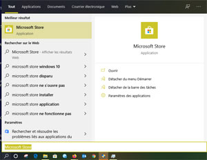 Recherche Microsoft Store