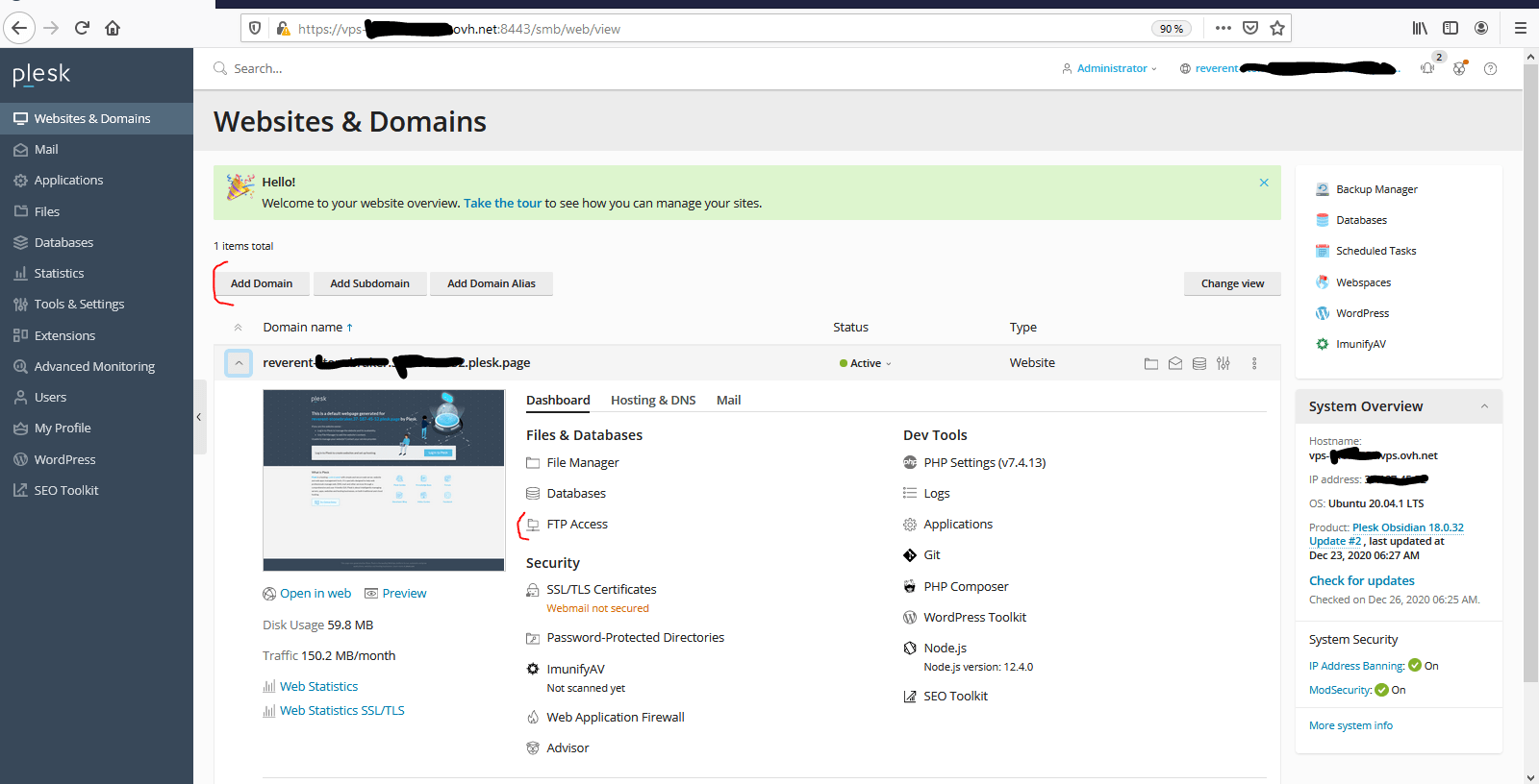 Installer Python en WSGI sur VPS OVHCloud + Plesk