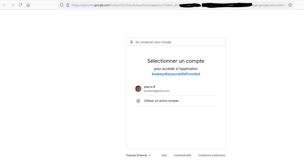 Connection à votre application
