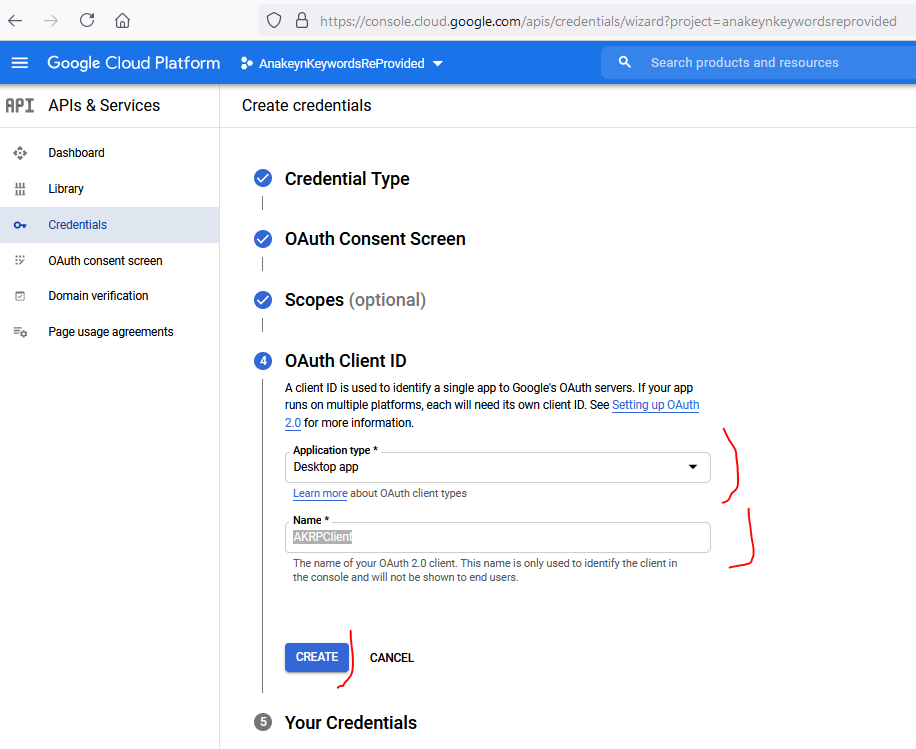 Création Credentials - OAuth Client ID