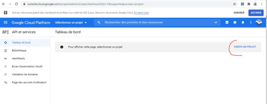 Google Developers Console - Créer un  Projet