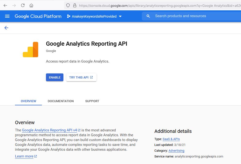 Autoriser Google Analytics Reporting API