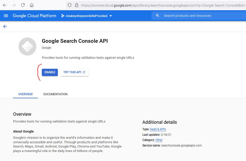 Valider Google Search Console API