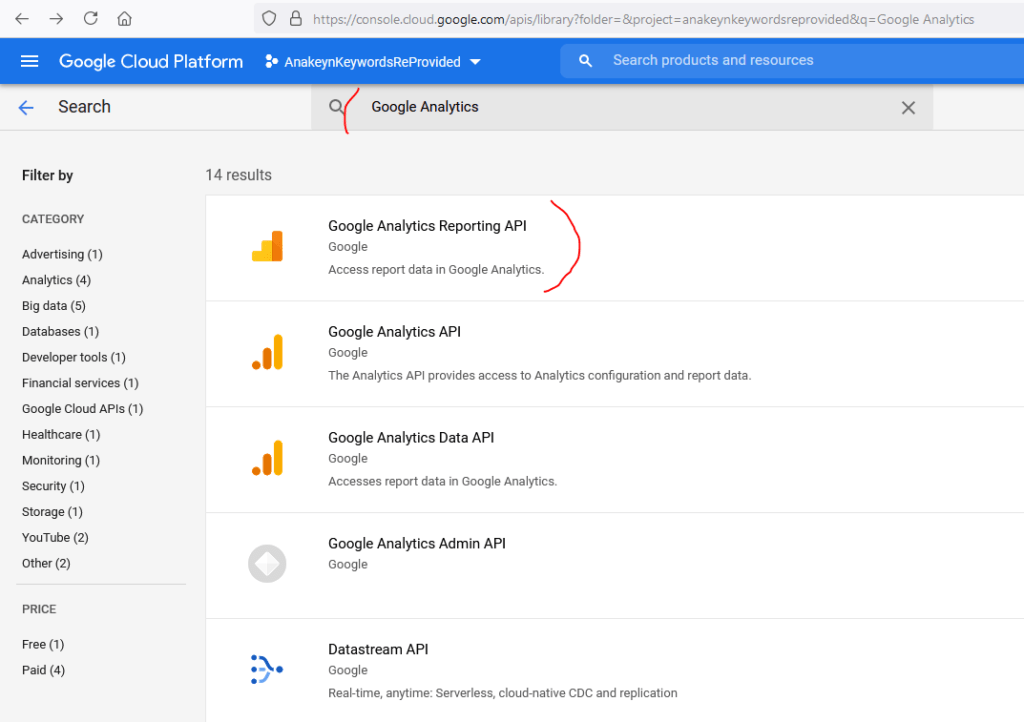 Recherche des APIS Google Analytics